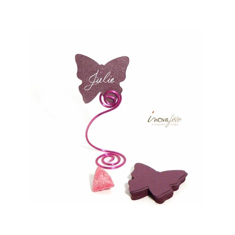 Étiquette papillon prune /25 - Label Fête