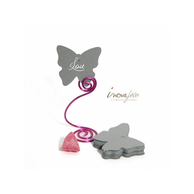 Étiquette papillon gris clair /25 - Label Fête