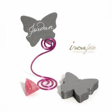 Etiquette papillon argent /25