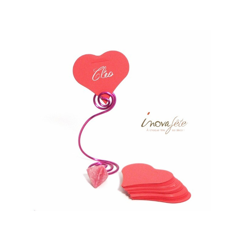 Étiquette cœur rose /25 - Label Fête