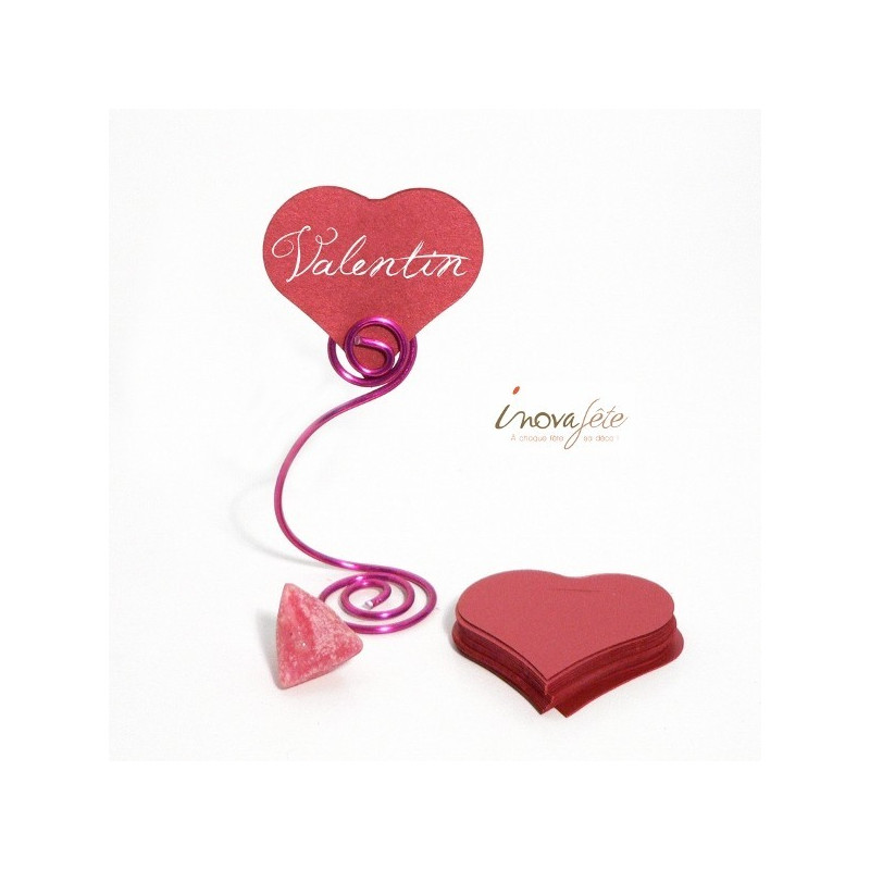 Étiquette cœur rouge nacré /25 - Label Fête