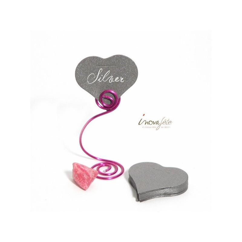 Étiquette cœur argent /25 - Label Fête