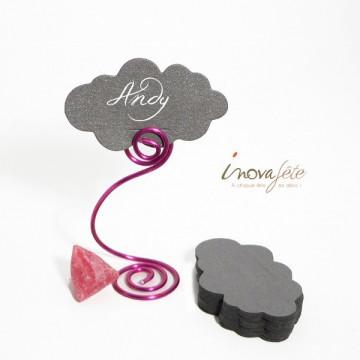 Etiquette nuage gris argent nacré /25