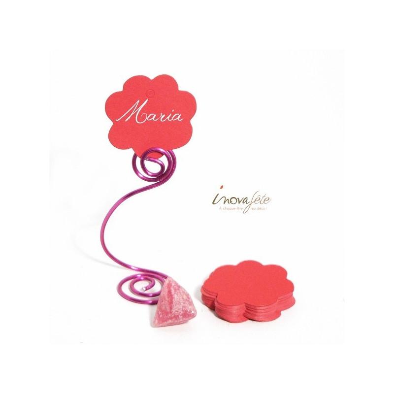 Etiquette fleur rouge nacré /25