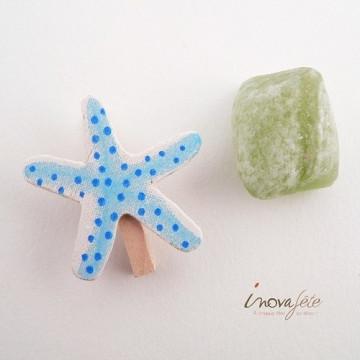 Petite pince déco, étoile de mer bleu /6