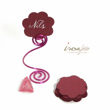 Etiquette fleur bordeaux /25
