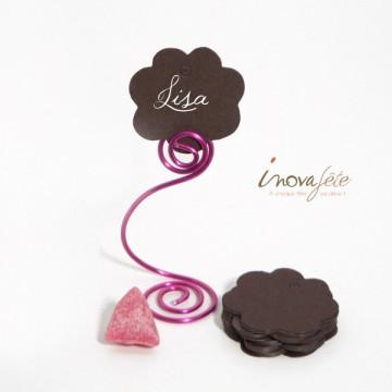 Etiquette fleur chocolat nacré /25