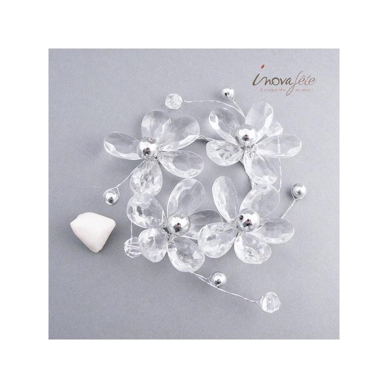 Anneau cristal fleurs et perles - Label Fête