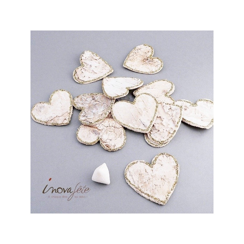 Coeur en écorce ivoire et or /12