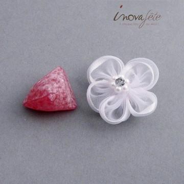 Fleur organza blanche perles et strass /12