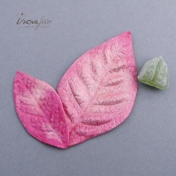 Feuille textile rose /50