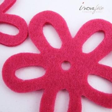 Fleur de feutre fuchsia /8 - Label Fête