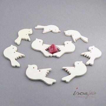 Oiseau en bois blanc /9, le marque-place original de votre mariage