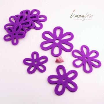 Fleur de feutre violette /8 - Label Fête