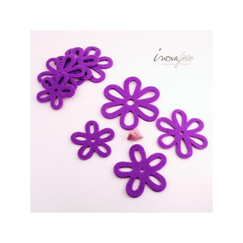 Fleur de feutre violette /8